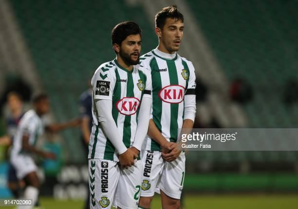 Vitoria Setubal forward Joao Amaral from Portugal and Vitoria Setubal midfielder Joao Teixeira from Portugal before a free kick during the Primeira...