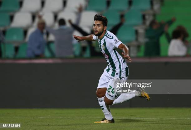 Vitoria Setubal forward Joao Amaral from Portugal celebrates after scoring a goal during the Primeira Liga match between Vitoria Setubal and CS...