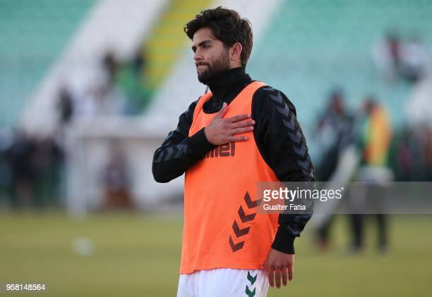 Vitoria Setubal forward Joao Amaral from Portugal celebrates after the victory at the end of the Primeira Liga match between Vitoria Setubal and CD...