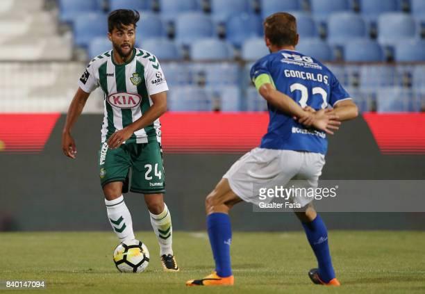 Vitoria Setubal forward Joao Amaral from Portugal in action during the Primeira Liga match between CF Os Belenenses and Vitoria Setubal at Estadio do...