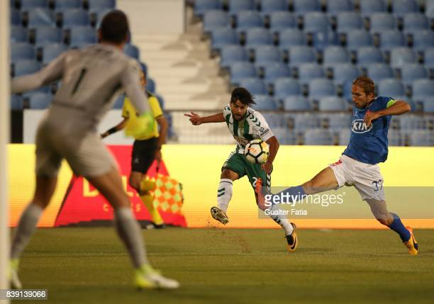 Vitoria Setubal forward Joao Amaral from Portugal with CF Os Belenenses defender Goncalo Silva from Portugal in action during the Primeira Liga match...