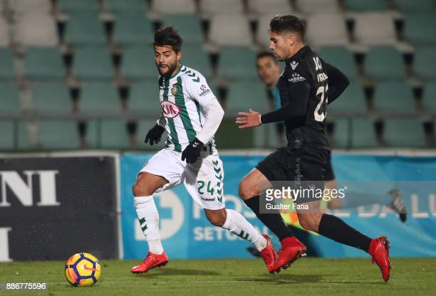 Vitoria Setubal forward Joao Amaral from Portugal with Vitoria Guimaraes defender Joao Vigario from Portugal in action during the Primeira Liga match...