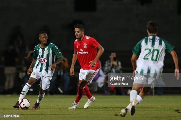 Vitoria Setubal forward Leandro Resinda from Netherlands with SL Benfica defender Andre Almeida from Portugal in action during the PreSeason Friendly...