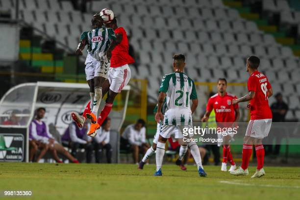 Vitoria Setubal forward Valdu Te from Guinea Bissau vies with SL Benfica midfielder Alfa Semedo from Guinea Bissau for the ball possession during the...