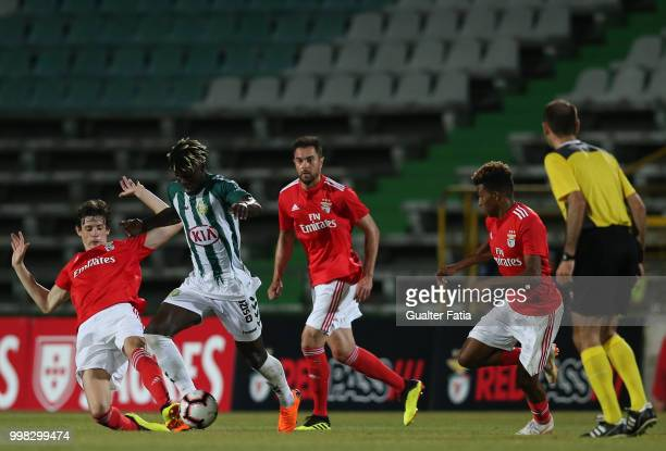 Vitoria Setubal forward Valdu Te from Guinea Bissau with SL Benfica defender German Conti from Argentina in action during the PreSeason Friendly...
