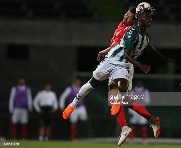 Vitoria Setubal forward Valdu Te from Guinea Bissau with SL Benfica defender Andre Almeida from Portugal in action during the PreSeason Friendly...