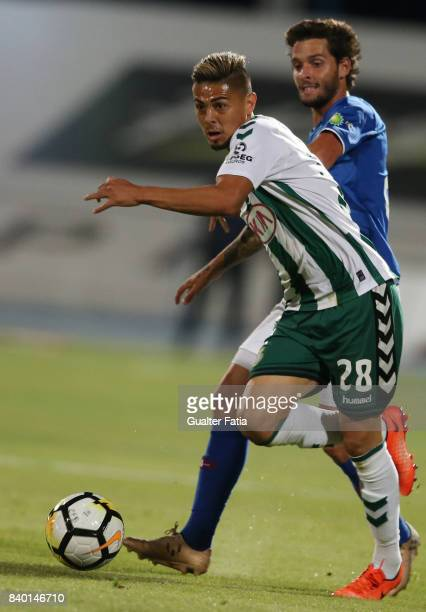 Vitoria Setubal forward Willyan from Brazil with CF Os Belenenses midfielder Filipe Chaby from Portugal in action during the Primeira Liga match...
