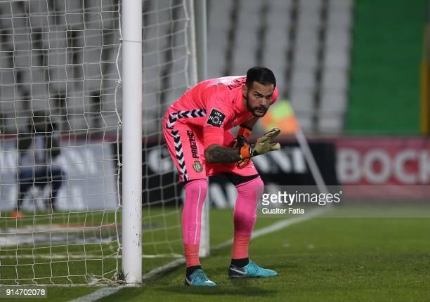 Vitoria Setubal goalkeeper Cristiano from Portugal in action during the Primeira Liga match between Vitoria Setubal and CF Os Belenenses at Estadio...