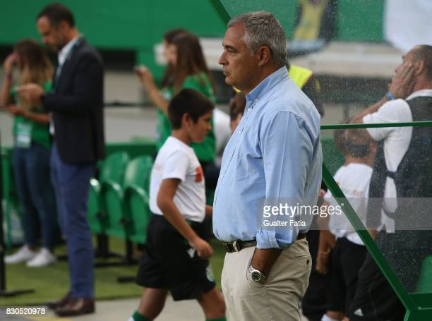 Vitoria Setubal head coach Jose Couceiro from Portugal before the start of the Primeira Liga match between Sporting CP and Vitoria Setubal at Estadio...
