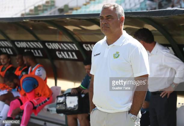Vitoria Setubal head coach Jose Couceiro from Portugal before the start of the Primeira Liga match between Vitoria Setubal and Moreirense FC at...