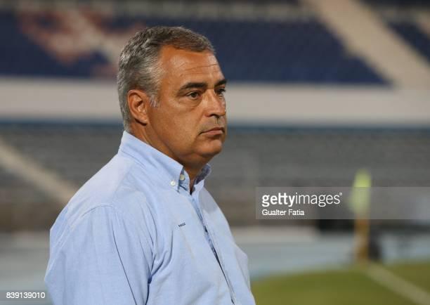 Vitoria Setubal head coach Jose Couceiro from Portugal before the start of the Primeira Liga match between CF Os Belenenses and Vitoria Setubal at...
