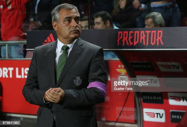 Vitoria Setubal head coach Jose Couceiro from Portugal before the start of the Primeira Liga match between SL Benfica and Vitoria Setubal at Estadio...
