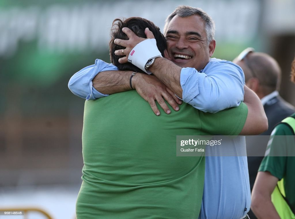 Vitoria Setubal head coach Jose Couceiro from Portugal celebrate with staff member after the victory at the end of the Primeira Liga match between Vitoria Setubal and CD Tondela at Estadio do Bonfim on April 13, 2018 in Setubal, Portugal.
