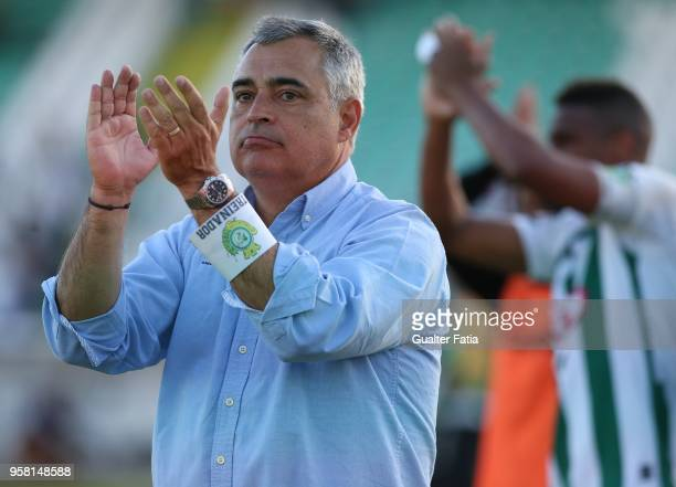 Vitoria Setubal head coach Jose Couceiro from Portugal celebrates after the victory at the end of the Primeira Liga match between Vitoria Setubal and...