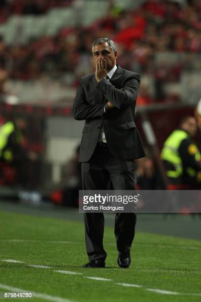 Vitoria Setubal head coach Jose Couceiro from Portugal during the match between SL Benfica and FC Vitoria Setubal for the Portuguese Primeira Liga at...