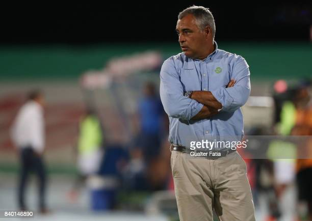 Vitoria Setubal head coach Jose Couceiro from Portugal in action during the Primeira Liga match between CF Os Belenenses and Vitoria Setubal at...