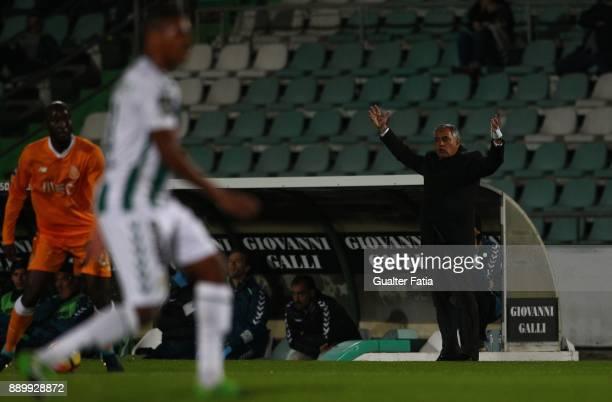 Vitoria Setubal head coach Jose Couceiro from Portugal in action during the Primeira Liga match between Vitoria Setubal and FC Porto at Estadio do...