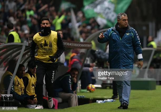 Vitoria Setubal head coach Jose Couceiro from Portugal in action during the Portuguese League Cup Final match between Vitoria de Setubal and Sporting...