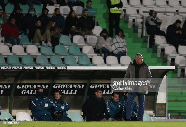 Vitoria Setubal head coach Jose Couceiro from Portugal in action during the Primeira Liga match between Vitoria Setubal and CF Os Belenenses at...