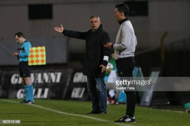 Vitoria Setubal head coach Jose Couceiro from Portugal in action during the Primeira Liga match between Vitoria Setubal and Portimonense SC at...