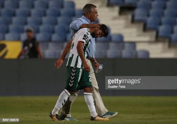 Vitoria Setubal head coach Jose Couceiro from Portugal with Vitoria Setubal forward Joao Amaral from Portugal at the end of the Primeira Liga match...