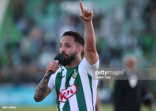 Vitoria Setubal midfielder Joao Costinha from Portugal celebrates after the victory at the end of the Primeira Liga match between Vitoria Setubal and...