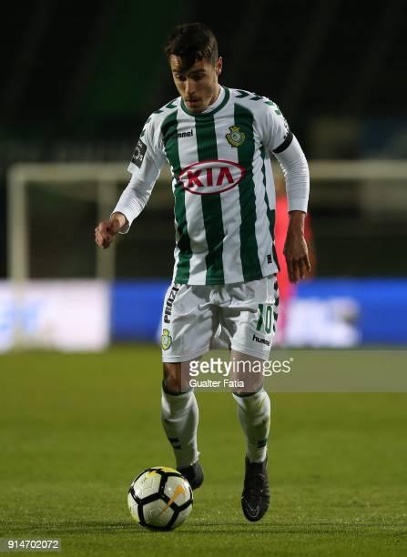 Vitoria Setubal midfielder Joao Teixeira from Portugal in action during the Primeira Liga match between Vitoria Setubal and CF Os Belenenses at...