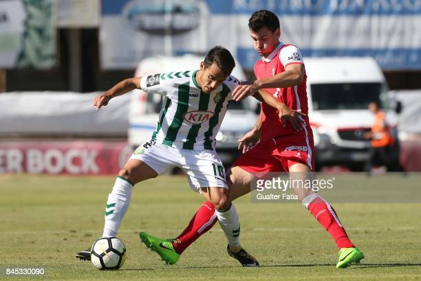 Vitoria Setubal midfielder Joao Teixeira from Portugal with SC Braga defender Lazar Rosic from Serbia in action during the Primeira Liga match...