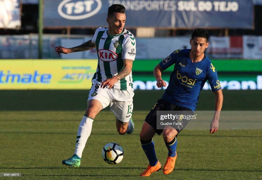 Vitoria Setubal midfielder Wallyson Mallmann from Brazil with CD Tondela forward Juan Delgado from Chile in action during the Primeira Liga match between Vitoria Setubal and CD Tondela at Estadio do Bonfim on April 13, 2018 in Setubal, Portugal.