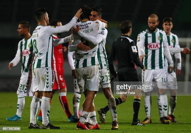 Vitoria Setubal players celebrate the victory and the qualification for the Final Four of the Portuguese League Cup at the end of the Portuguese...