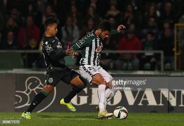 Vitoria SetubalÕs defender William Alves with Sporting CPÕs forward Matheus Pereira in action during the Primeira Liga match between Vitoria Setubal...