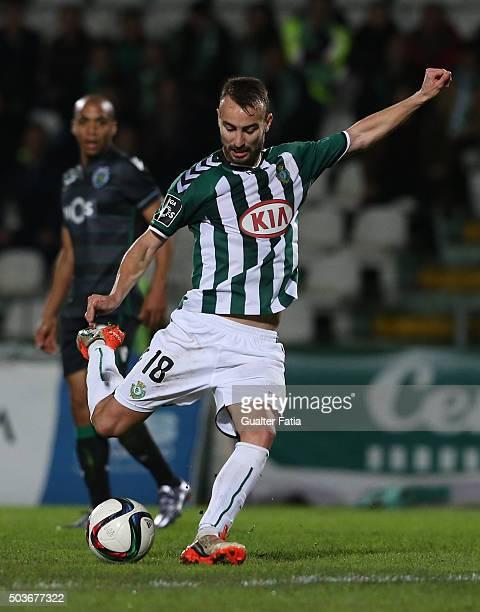 Vitoria SetubalÕs forward Andre Claro in action during the Primeira Liga match between Vitoria Setubal and Sporting CP at Estadio do Bonfim on...