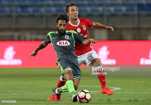 Vitoria Setubal's forward Costinha with SL Benfica's defender from Spain Alex Grimaldo in action during the Algarve Football Cup Pre Season Friendly...