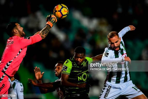 Vitoria Setubal's goalkeeper Cristiano Figueiredo saves a ball during the Portuguese league football match between Vitoria FC and Sporting CP at the...