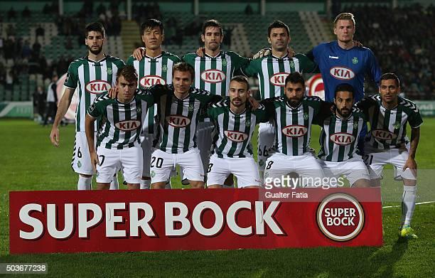 Vitoria Setubal's players pose for a team photo during the Primeira Liga match between Vitoria Setubal and Sporting CP at Estadio do Bonfim on...