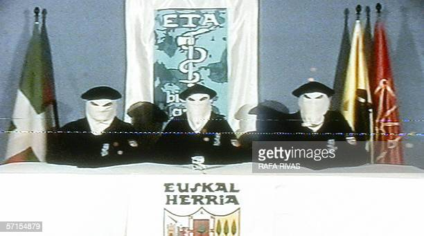 A TV shot of the video in which proindependence armed Basque group ETA declares a permanent ceasefire 22 March 2006 in the northern Spanish Basque...