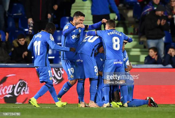 Vitorino Antunes of Getafe celebrates with teammates after scoring his team's third goal during the La Liga match between Getafe CF and RCD Espanyol...