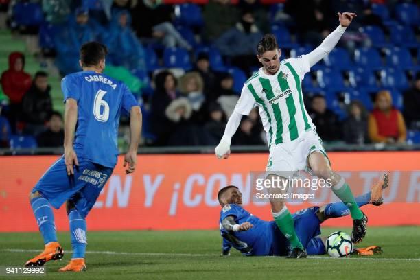 Vitorino Antunes of Getafe, Fabian Ruiz Pena of Real Betis during the La Liga Santander match between Getafe v Real Betis at the Coliseum Alfonso...