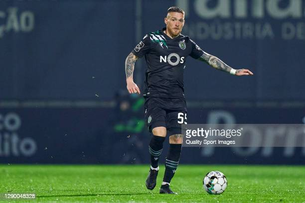 Vitorino Antunes of Sporting CP in action during the Liga NOS match between FC Famalicao and Sporting CP at Estadio Municipal 22 de Junho on December...