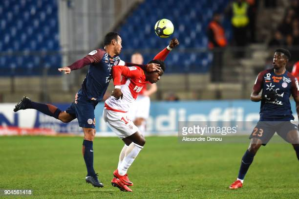 Vitorino Hilton of Montpellier and Keita Balde of Monaco during the Ligue 1 match between Montpellier and Monaco at Stade de la Mosson on January 13...