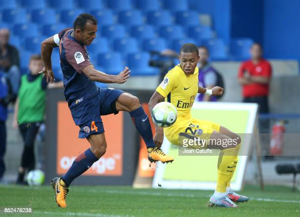 Vitorino Hilton of Montpellier and Kylian Mbappe of PSG during the French Ligue 1 match between Montpellier Herault SC and Paris Saint Germain at...