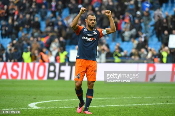 Vitorino HILTON of Montpellier celebrates the victory during the Ligue 1 match between Montpellier HSC and AS Saint-Etienne at Stade de la Mosson on...