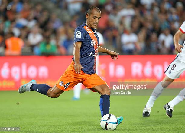 Vitorino Hilton of Montpellier in action during the French Ligue 1 match between Montpellier Herault SC v Paris SaintGermain at Stade de la Mosson on...