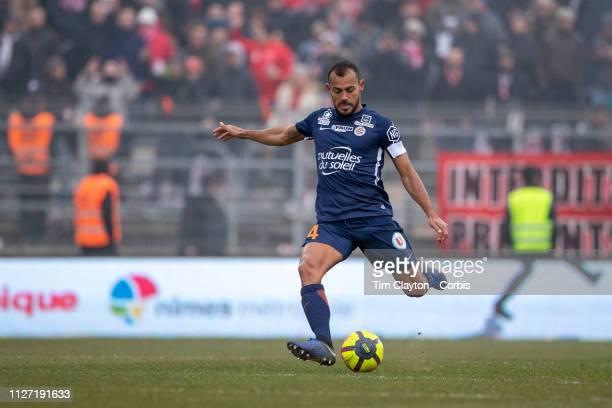 Vitorino Hilton of Montpellier in action during the Nimes V Montpellier French Ligue 1 regular season match at Stade des Costières on February 3rd...