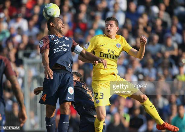 Vitorino Hilton of Montpellier Julian Draxler of PSG during the French Ligue 1 match between Montpellier Herault SC and Paris Saint Germain at Stade...