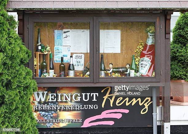 A vitrine displays wine bottles from the vineyard Heinz and a bottle of Heinz ketchup which refers to the Heinz ketchup dynasty in the village of...