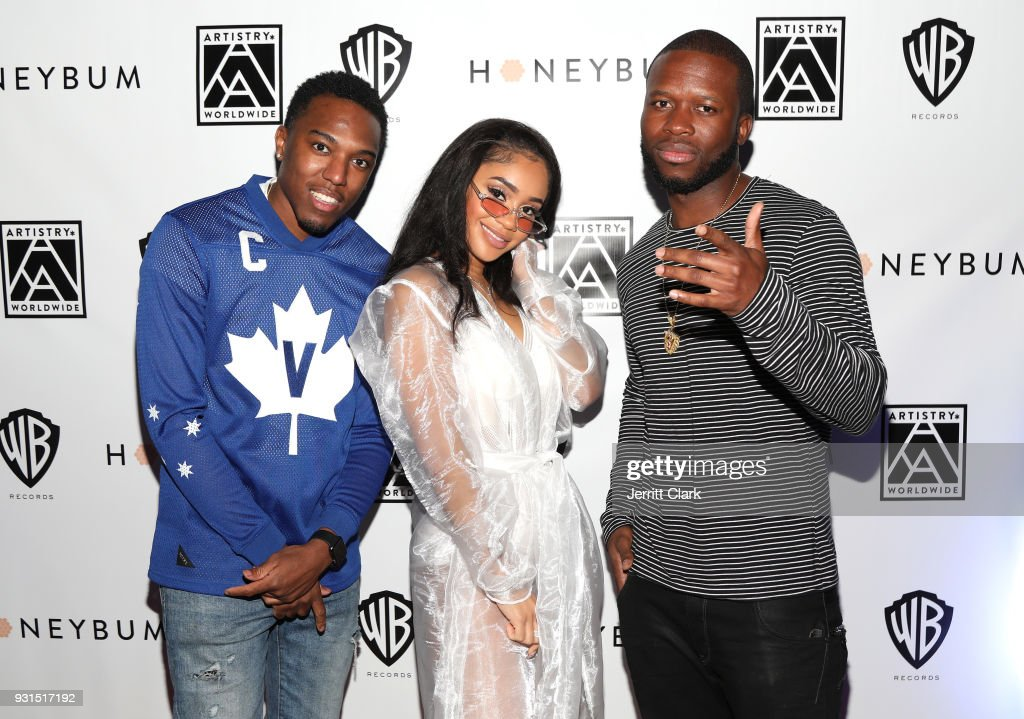 Vitto, Saweetie and DJ Moe Beatz attend Saweetie's 'High Maintenance' Listening Event on March 12, 2018 in Hollywood, California.