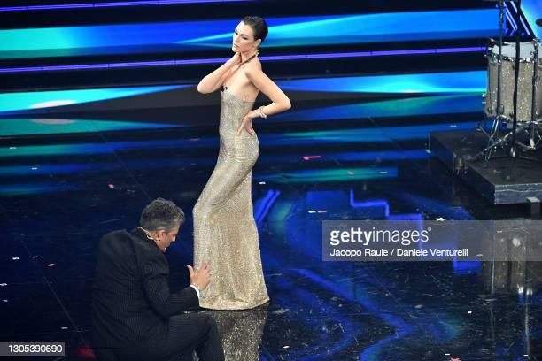 Vittoria Ceretti and Fiorello are seen on stage during the 71th Sanremo Music Festival 2021 at Teatro Ariston on March 04, 2021 in Sanremo, Italy.
