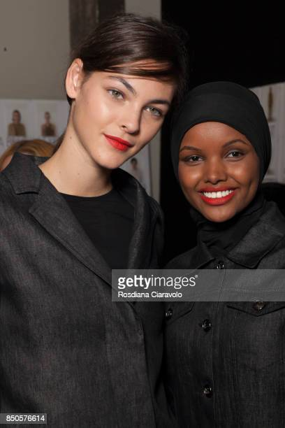 Vittoria Ceretti and Halima Aden are seen backstage ahead of the Max Mara show during Milan Fashion Week Spring/Summer 2018on September 21 2017 in...