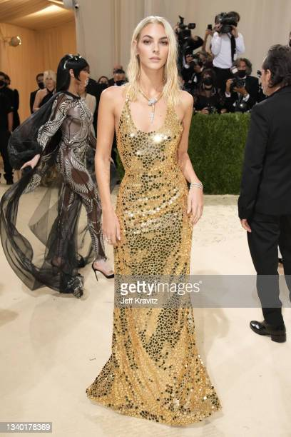 Vittoria Ceretti attends The 2021 Met Gala Celebrating In America: A Lexicon Of Fashion at Metropolitan Museum of Art on September 13, 2021 in New...